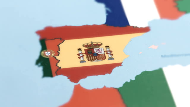 Spain with National Flag on World Map