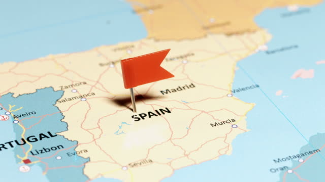 Spain with pin