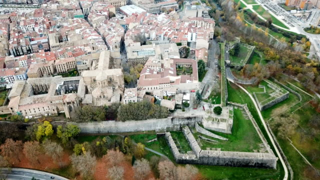 Spanish city of Pamplona on bank of Arga river