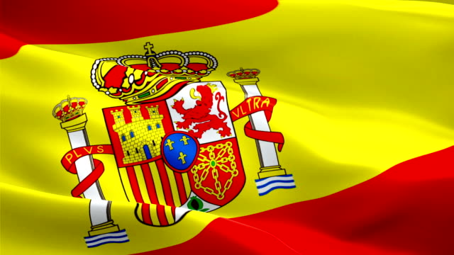 spanish flag closeup 1080p full hd 1920x1080 footage video waving in wind. national 3d spanish flag waving. sign of spain seamless loop animation. madrid spanish flag hd resolution background 1080p - kiss стоковые видео и кадры b-roll
