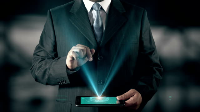 Spanish Language Choose Businessman using digital tablet technology futuristic background video