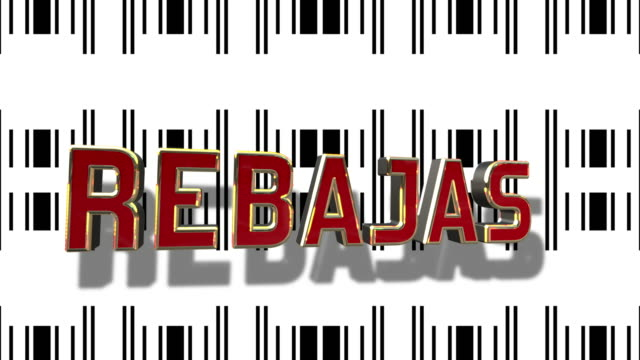 Spanish Sale 3D Looping Animation With Barcode Abstract Line Background video