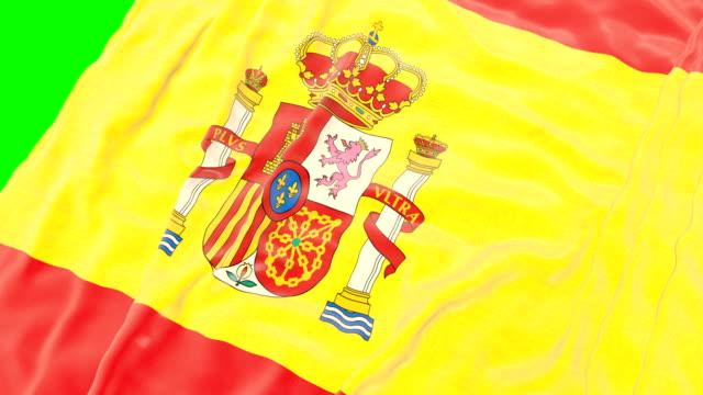 vidéos et rushes de drapeau ondulant espagnole. écran vert. gros plan - ligue sportive