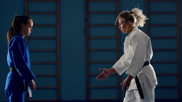 Sparing judokas. Beginning of the battle, greeting athletes. Sparing judokas. Beginning of the battle, greeting athletes. martial arts stock videos & royalty-free footage