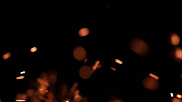 SLO MO Sparkler burning out against black background
