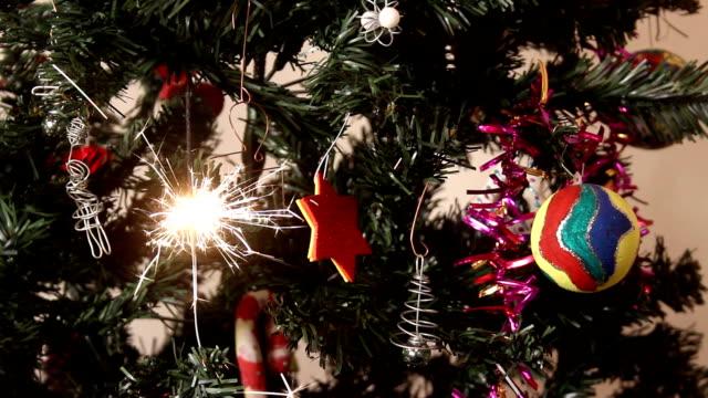 Sparkler on Christmas tree video