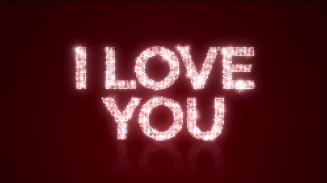 I LOVE YOU Sparkling Background Loop with Matte video