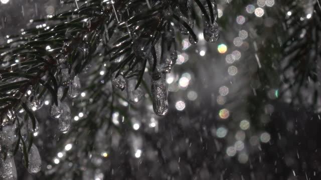 gnistrande fir grenar med frysta istappar i kraftigt regn mot färgglada gnistrande conifer bakgrund i slow motion. - icicle bildbanksvideor och videomaterial från bakom kulisserna