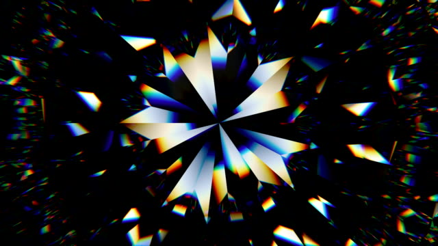 輝く宝石マクロ シームレス ループを回転します。カレイド スコープ - 黒色点の映像素材/bロール