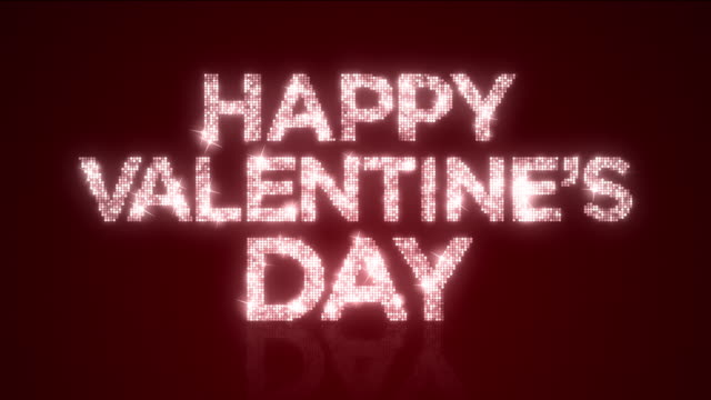 Sparkling Happy Valentine's Day Reflective Background Loop with Matte video