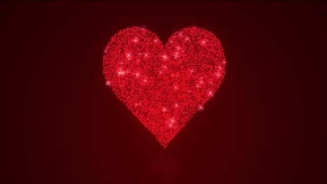 Sparkling Red Heart Reflective Background Loop with Matte A 12 second looping animation of heart shape over a reflective spot lit background with matte included. sequin stock videos & royalty-free footage
