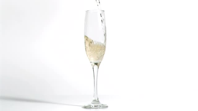 Sparkling wine falling in a flute video