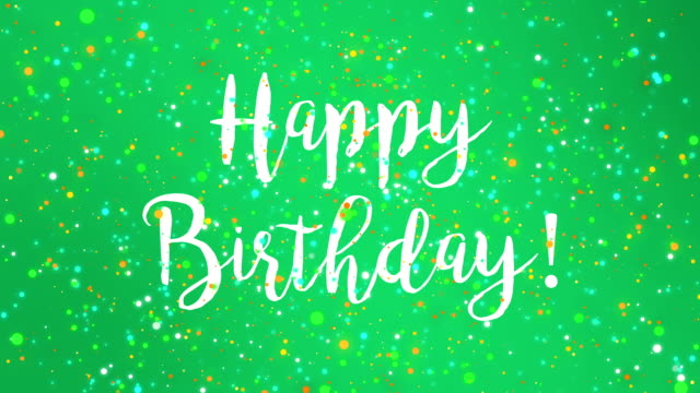 Sparkly green Happy Birthday greeting card video Sparkly green Happy Birthday greeting card video animation with handwritten text and falling colorful glitter particles. birthday background stock videos & royalty-free footage