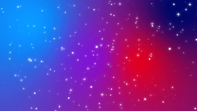 Sparkly light particles moving across a red purple blue gradient background video