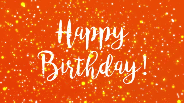 Sparkly orange Happy Birthday greeting card video video