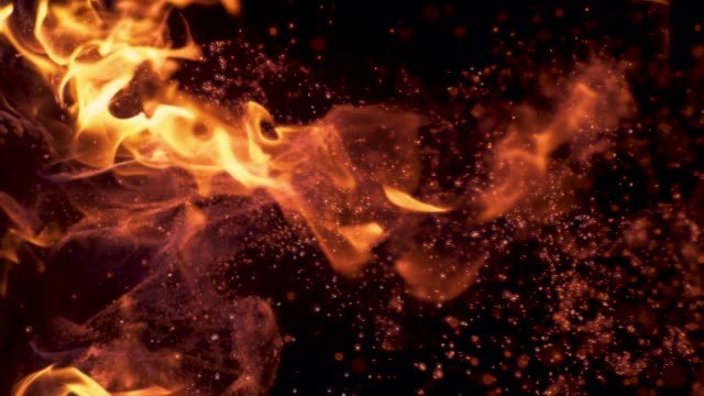 vertical slow motion: sparks flying around the branches in the blazing campfire. - fiamma video stock e b–roll