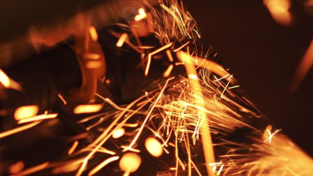 Sparks from steel cutter Sparks from steel cutter. steel mill stock videos & royalty-free footage
