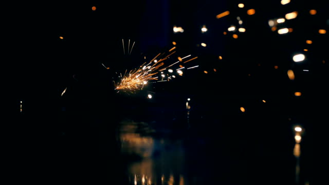 Sparks from welding steel Sparks from welding steel iron metal stock videos & royalty-free footage