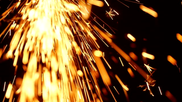 Sparks Frying During Metal Grinding video