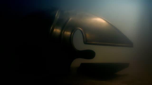 Spartan Helmet On Sea Floor Ancient spartan warrior helmet underwater old ruin stock videos & royalty-free footage