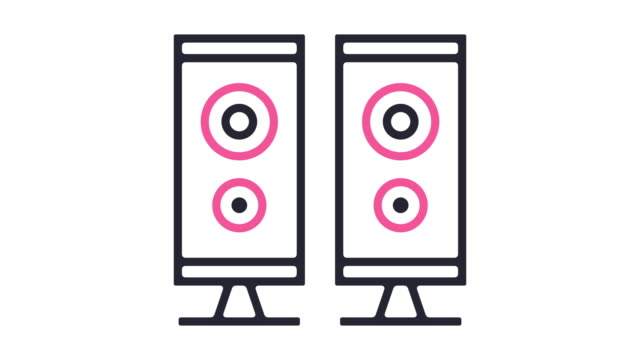 Speaker Icon Animation Thin line animation of sound system icon on white background. rock music stock videos & royalty-free footage