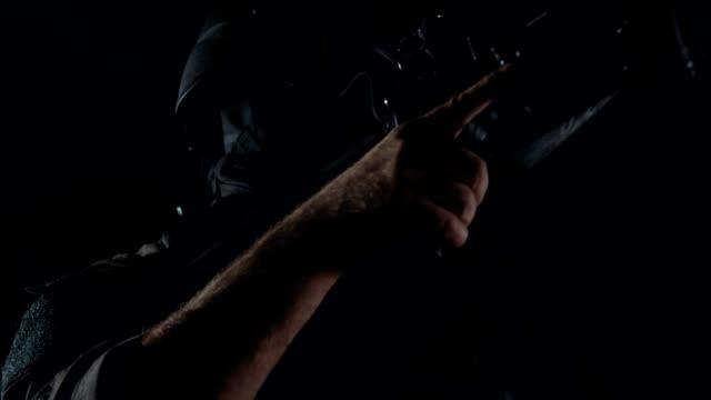 Spec Ops Police Officer Swat In Black Uniform Studio Stock
