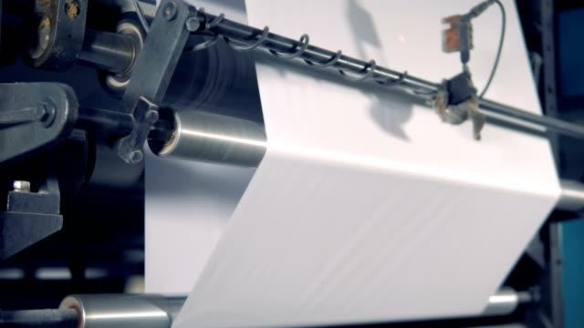 special device rolls paper, close up. paper production plant. - мембрана клетки стоковые видео и кадры b-roll