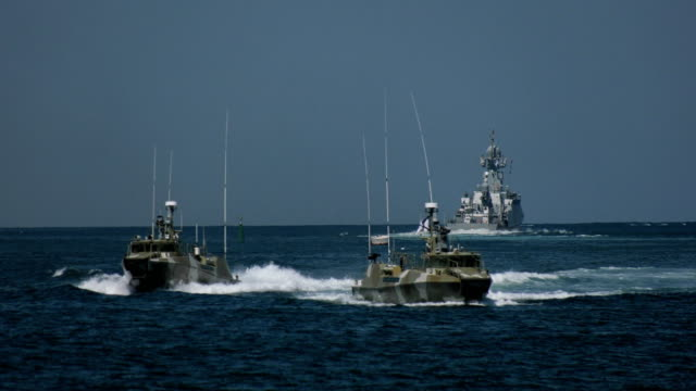 special forces boats at military exercises of the fleet
