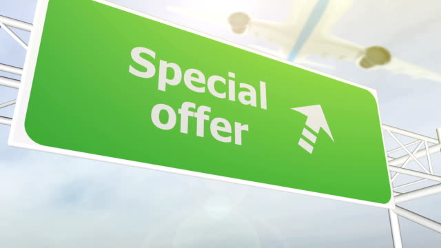 Special offer concept road sign on highway video