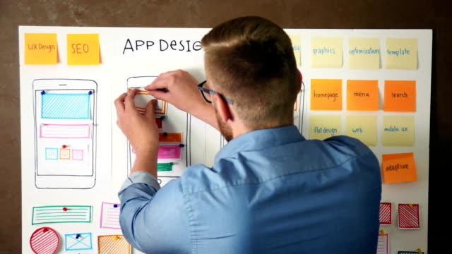 ux specialist designing new application layout on whiteboard - web designer video stock e b–roll