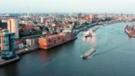 istock Spectacular aerial view of the famous fish market area ,and the port of Hamburg on a sunny day with a clear cloudless sky during sunset 1187388247