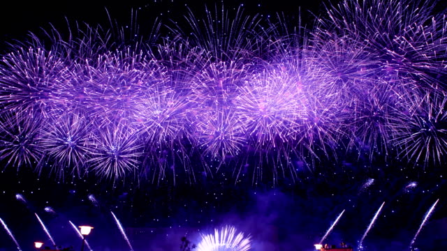 Spectacular blue firework display video