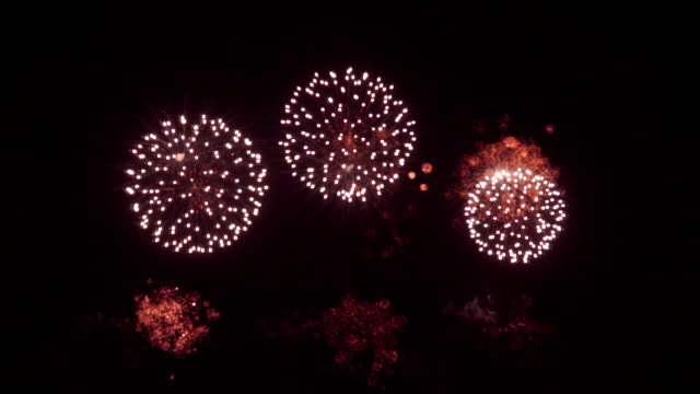 Spectacular colorful firework display Spectacular fireworks exploding on black background bastille day stock videos & royalty-free footage