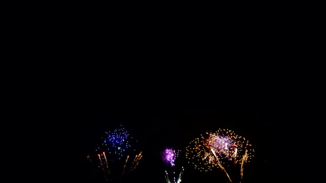 Spectacular colorful firework display Spectacular colorful firework display on black sky background circa 4th century stock videos & royalty-free footage