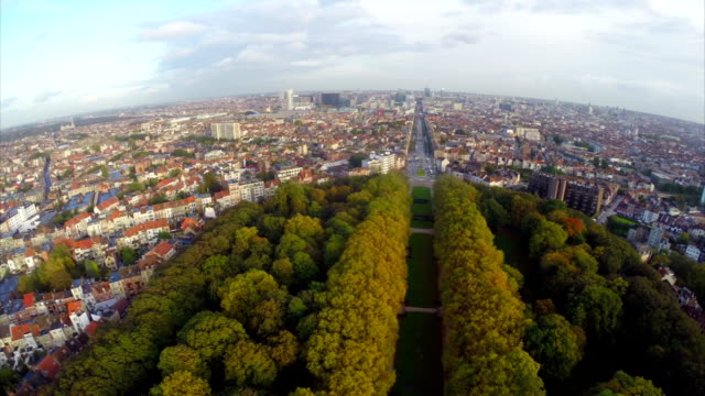 Spectacular European city view Brussels aerial streets buildings. Beautiful aerial shot above Europe, culture and landscapes, camera pan dolly in the air. Drone flying above European land. Traveling sightseeing, tourist views of Belgium. video