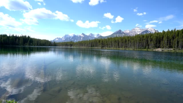 Spectacular mountain lake landscape at lake Herbert,Canada video