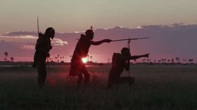 4K spectacular side view of three San people/Bushman in traditional dress at sunset looking for animals out on the Makgadikgadi grasslands, Botswana 4K spectacular side view of three San people/Bushman in traditional dress at sunset looking for animals out on the Makgadikgadi grasslands, Botswana botswana stock videos & royalty-free footage