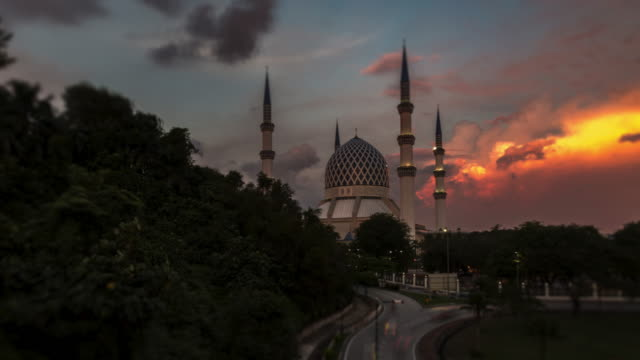Spectacular Sunset at the Shah Alam Mosque, Malaysia