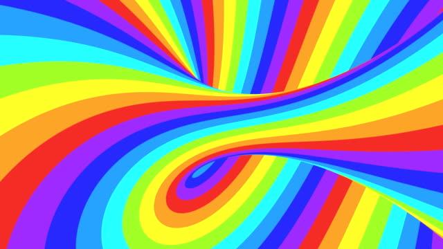 スペクトルサイケデリック錯視。抽象的な虹の催眠アニメーションの背景。明るいループカラフルな壁紙 - 玉虫色点の映像素材/bロール