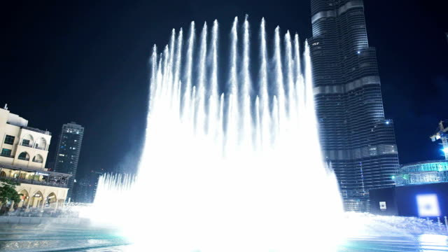 specular fountain in front of the burj khalifa - fountains stock videos & royalty-free footage
