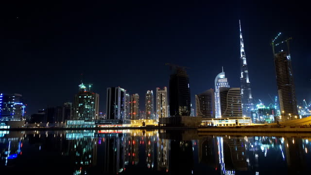 specular night scene in dubai - dubai architecture stock videos & royalty-free footage
