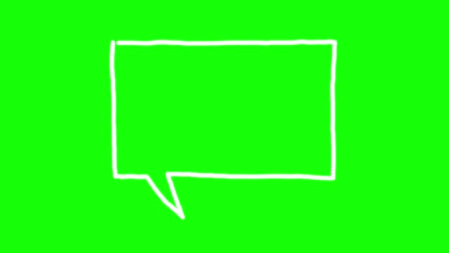 Speech bubble doodle on green background Doodle speech bubble on green screen, popping at the end speech bubble stock videos & royalty-free footage