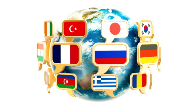Speech bubble flags with rotating Earth Globe, 3D rendering isolated on white background video