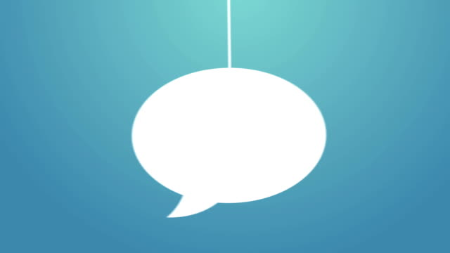 Speech bubble hanging on a wire White speech bubble bounces into the frame on a string. Space for text. blue background speech bubble stock videos & royalty-free footage