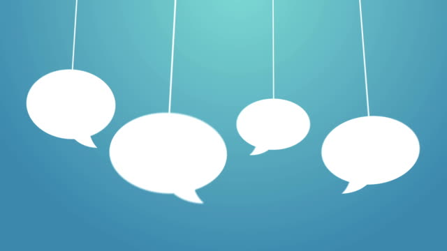 Speech bubbles hanging on a wire White speech bubbles bounce into the frame on a string. Space for text. blue background speech bubble stock videos & royalty-free footage