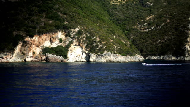 Speed boat sailing on the Ionian see video