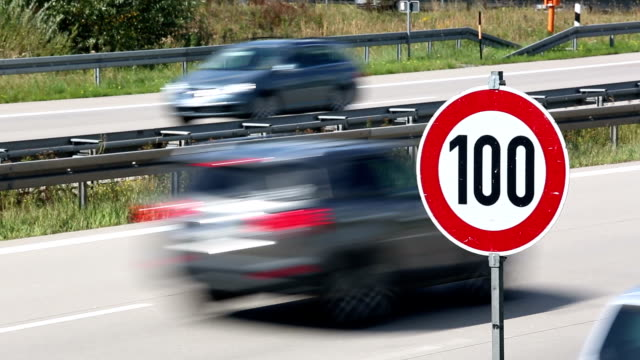 Speed limit on German Autobahn + Audio Speed limit on German Autobahn + Audio autobahn stock videos & royalty-free footage