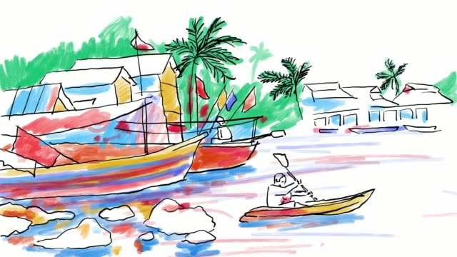 Speed Painting Sketch Shore And Fishermen video