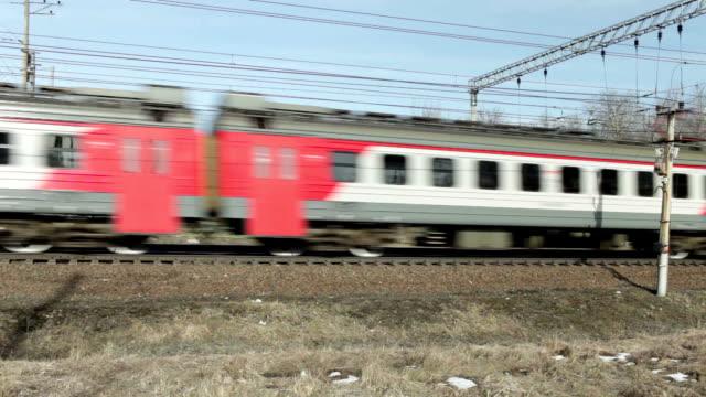 speed passenger electric train in motion - intercity filmów i materiałów b-roll