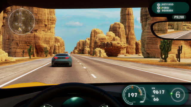 Speed Rasing 3d Video Game Speed Rasing 3d Video Game Imitation With Interface. Sports Cars Compete On The Desert Road With Rocks. Gameplay Screen. car videos stock videos & royalty-free footage